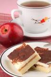 Apple cake with vanilla cream Stock Images