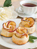 Apple cakes and tea royalty free stock photography