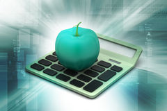 Apple  with calculator Royalty Free Stock Image