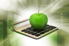 Apple  with calculator Stock Photos