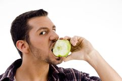 apple camera eating looking man Στοκ εικόνα με δικαίωμα ελεύθερης χρήσης