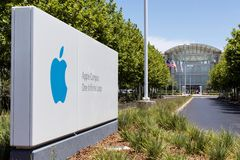 Apple Campus One Infinite Loop. Apple campus at one infinite loop, City Cupertino of California. Apple Inc. is an American based corporation that designs Royalty Free Stock Image