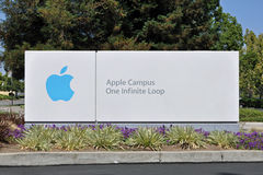 Apple Campus One Infinite Loop Sign. At Apple Inc headquarters in Cupertino, California, USA Royalty Free Stock Image