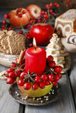 Apple candle holder - christmas decor Stock Image