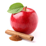 Apple with canelle. In closeup royalty free stock photo
