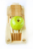 Apple and car. Green apple on the wood car Royalty Free Stock Photography