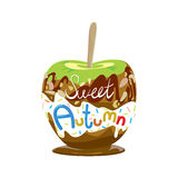 Apple in caramel. Colorful illustration of seasons theme. Sweet autumn concept. Modern and bright colors, flat design. Donut and candy for adverising, bakery Stock Photos