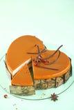Apple Caramel and Hazelnut Heart Cake Stock Images