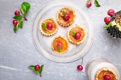 Apple caramel little tarts on grey background. French tatin with paradise apple. Top view. Stock Photography