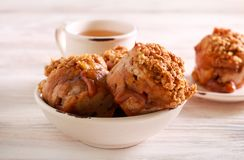 Apple and caramel muffins served. On plate stock image