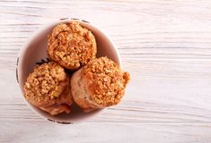 Apple and caramel muffins served. On plate stock photos