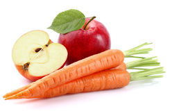 Apple with carrot. In closeup royalty free stock photos