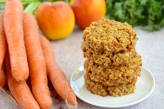 Apple carrot cookies with coffee. Homemade apple carrot oat cookies with coffee Royalty Free Stock Photos
