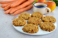 Apple carrot cookies. Homemade oat apple carrot cookies Stock Image