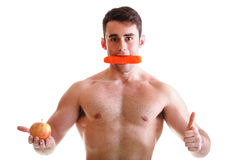 Apple carrot diet, man great body Isolated. On white royalty free stock photo