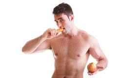 Apple carrot diet, man great body Isolated Royalty Free Stock Image