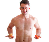 Apple carrot diet, man great body Isolated Royalty Free Stock Photos