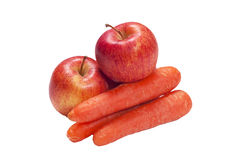 Apple and Carrot, isolated Stock Image