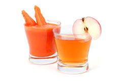 Apple and carrot juice Royalty Free Stock Image
