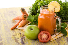 Apple, Carrot and Tomato juice Royalty Free Stock Image