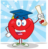 Apple Cartoon Character Graduate Holding A Diploma Royalty Free Stock Images
