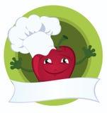Apple-cartoon-character-with-promo-ribbon Stock Photos