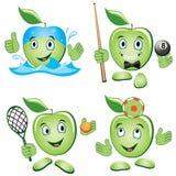 Apple cartoon Set. Cartoon apple doing Sport and Leisure games Royalty Free Stock Photography