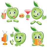 Apple cartoon Set Stock Photo