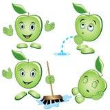 Apple cartoon Set. Cartoon apple performs different actions Royalty Free Stock Photos