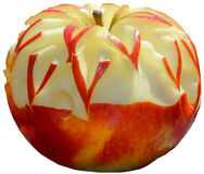 Apple carving. Isolated on white background Royalty Free Stock Photography