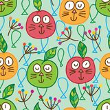 Apple cat seamless pattern. This illustration is abstract drawing apple cat with decoration in background Royalty Free Stock Photography