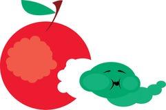 Apple and caterpillar royalty free illustration