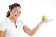 apple caucasian her palm posing Στοκ φωτογραφία με δικαίωμα ελεύθερης χρήσης
