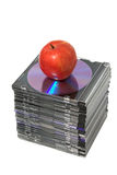 Apple and cd Stock Photo