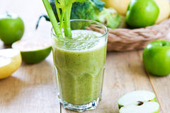 Apple with Celery and Broccoli smoothie Stock Photo