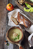Apple celery cream soup Royalty Free Stock Image