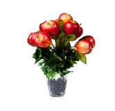 Apple centerpiece for Christmas. Glass vase holding apples in an arrangement for a center piece on a table decoration stock images