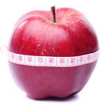 Apple with centimeter Royalty Free Stock Photos