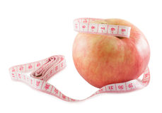 Apple and centimeter Royalty Free Stock Image