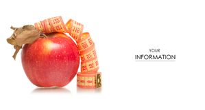 Apple centimeter health losing weight pattern. On white background isolation Stock Photo