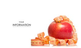 Apple centimeter health losing weight pattern. On white background isolation Royalty Free Stock Image