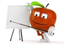 Apple character with blank whiteboard. Isolated on white background. 3d illustration Royalty Free Stock Image