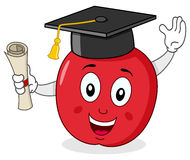 Apple Character with Graduation Hat stock illustration