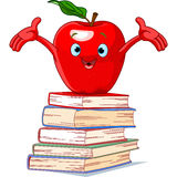 Apple character on pile of books Stock Photos
