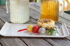 Apple cheese cake. Royalty Free Stock Photography