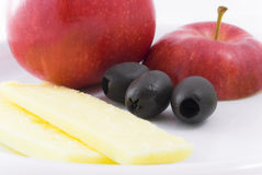 Apple Cheese and Olive Snack Stock Photo