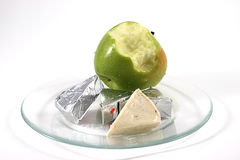 Apple and cheese on a plate Royalty Free Stock Photo