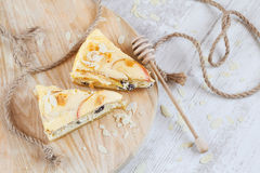Apple cheesecake on wood Royalty Free Stock Photos