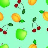 Apple cherry apricot. On a blue bakground stock illustration