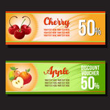 Apple cherry discount voucher. Two apple cherry discount voucher Stock Image